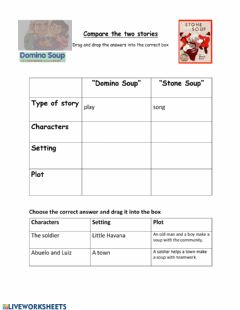 Ficha interactiva Compare Stone Soup and Domino Soup