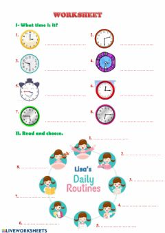 Ficha interactiva Daily routine 10-4