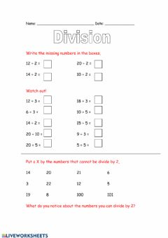 Interactive worksheet Division with remainders