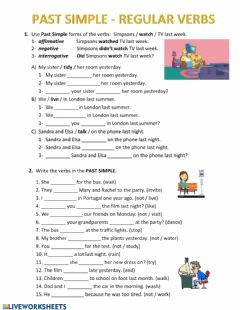 Ficha interactiva Past Simple - Regular Verbs