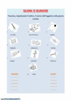 Interactive worksheet SUONI O RUMORI CLASSE 2