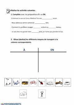 Interactive worksheet Les moyens de transport-prépositions
