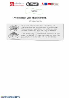 Interactive worksheet Writing test favourite food 5º unit 6
