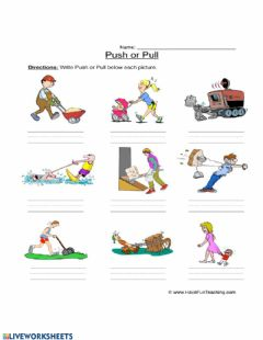 Ficha interactiva Forces: Push and Pull