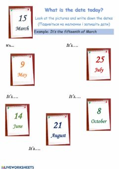 Interactive worksheet The Dates