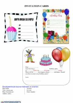 Interactive worksheet Invitation cards