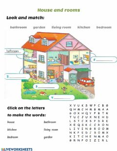 Interactive worksheet House: Rooms