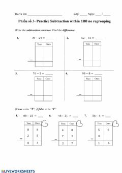 Interactive worksheet Practice Subtraction within 100 no regrouping