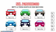 Interactive worksheet Associa la targa