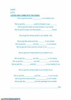 Interactive worksheet We-ve got the whole world in our hands song