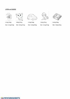 Interactive worksheet Living, non-living things
