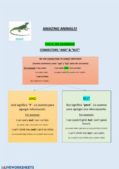 Interactive worksheet Amazing Animals! BUT & AND