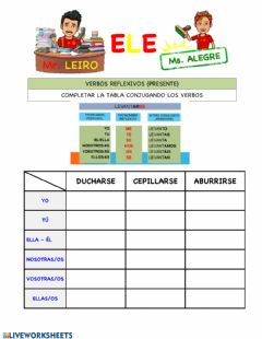 Interactive worksheet Verbos reflexivos