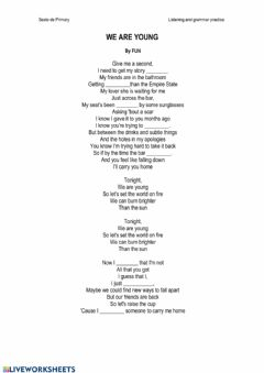 Interactive worksheet Song: We are young by Fun