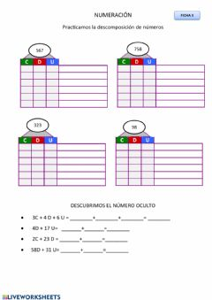 Interactive worksheet Casitas descomposición abn