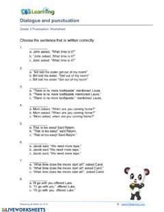 Interactive worksheet Dialogue and Punctuation