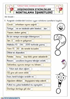 Interactive worksheet İlkokul
