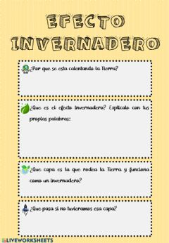 Interactive worksheet Efecto invernadero