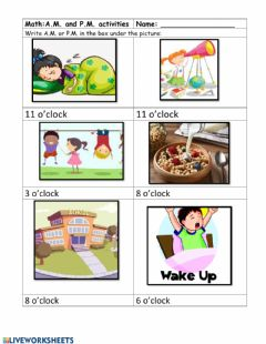 Interactive worksheet A.m. p.m. fill in