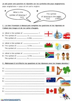 Interactive worksheet Symbols of english-speaking countries