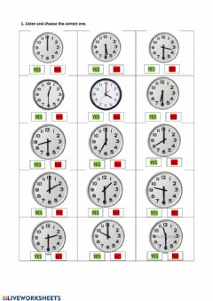 Ficha interactiva Hours o'clock and half past