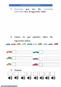 Interactive worksheet 17abril Números ordinales