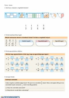 Interactive worksheet Törtek 1