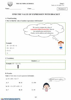 Interactive worksheet Find the value of expression with bracket