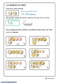 Interactive worksheet Contar monedas de euro y céntimos