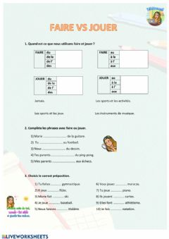 Interactive worksheet Francés - Faire et jouer