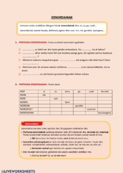 Interactive worksheet Izenordainak
