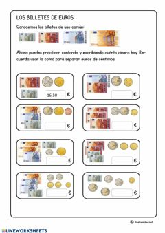 Interactive worksheet Contar billetes y monedas