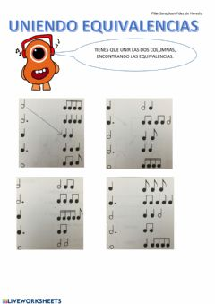 Interactive worksheet Equivalencias Musicales