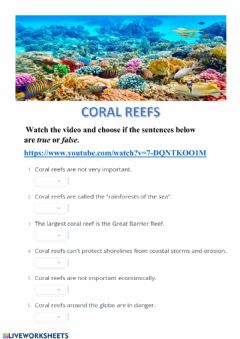 Interactive worksheet Coral Reefs