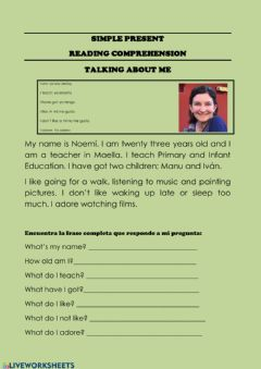 Interactive worksheet NMB Reading comprehension . Simple present