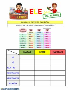 Interactive worksheet Verbos pasado