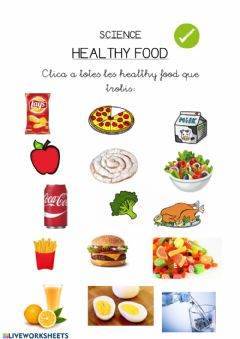 Ficha interactiva Healthy food girafesmussols1