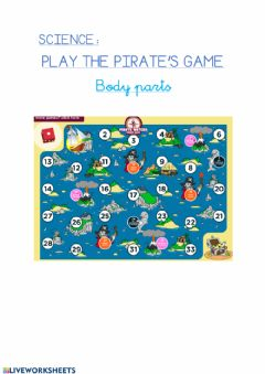 Interactive worksheet Pirate game body parts