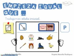 Interactive worksheet Empieza por silabas con p