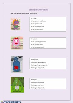 Interactive worksheet Describing monsters