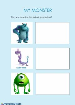 Interactive worksheet My monsters