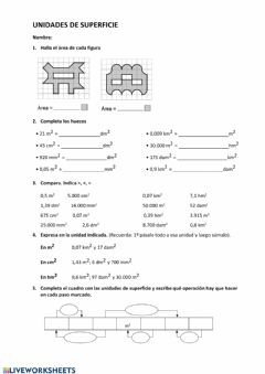 Interactive worksheet ficha unidades de superficie