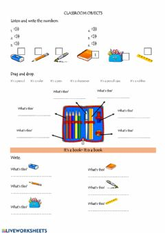 Ficha interactiva 3er Grade classroom objects