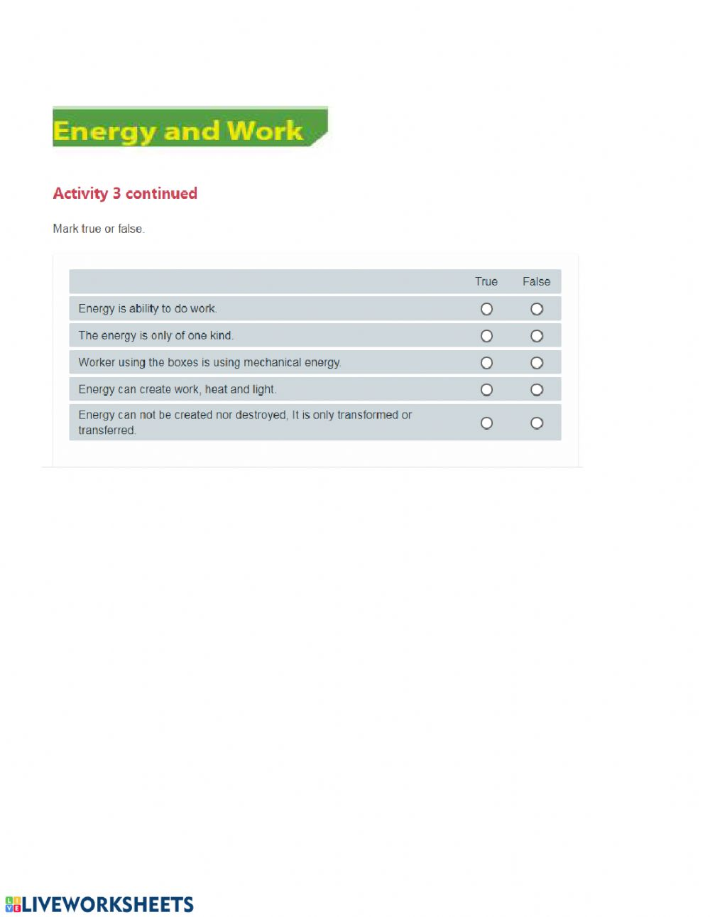 Energy And Work Interactive Worksheet