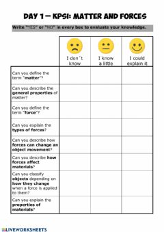 Interactive worksheet Matter