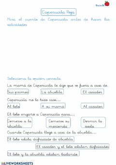 Interactive worksheet Caperucita Roja