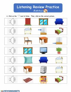 Interactive worksheet Listening Review Practice: In the house