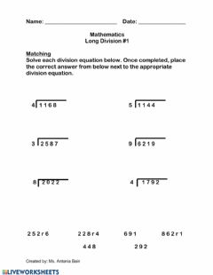 Interactive worksheet Long Division with Single Digit Divisors