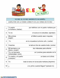 Interactive worksheet Verbos futuro