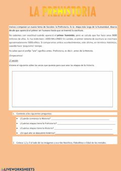 Interactive worksheet Introducción a la Prehistoria